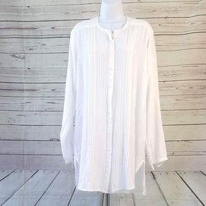 Vix Swim - ViX Paula Hermanny white pleated tunic cover up